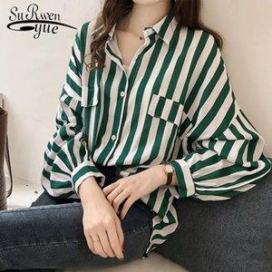 Fashion womens tops and blouses elegant blouse women striped blouse shirt long sleeve women shirts plus size tops 1728 50 201029