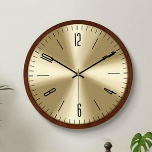 Sala de estar Luxury Wall Clock Metal Wood Creative Nordic Silent Wall Watch Modern Shabby Chic Retro Relojes Duvar Saati Regalo