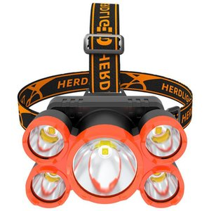 5 LED headlamp outdoor cycling fishing lamp with 18650 lithium battery and USB charging headlight