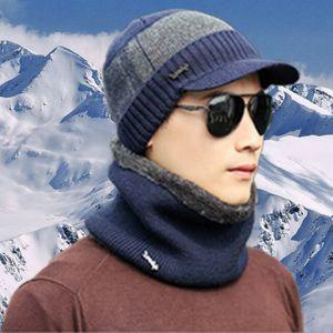 Hommes Femmes Hiver Hiver Chaud Crochet Tricot Bonnet Bonnet Visière Laine Crâne Hat Ski Cap Foulard Ensemble 3FS