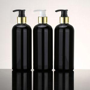 12pc 400ml Esvaziar preto Cosmetic PET alumínio Loção Collar Garrafas Ouro bomba de alumínio Shampoo Bottle Packaging Container