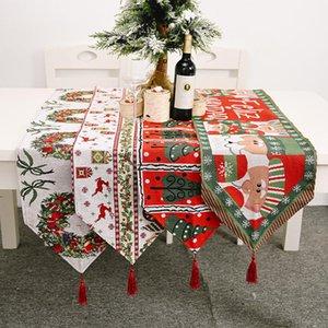 Corredores de la tabla decorativo de Navidad muñeco de nieve Elk poliéster Impreso de punto Mantel de Casa de la bandera de mesa creativa decoración