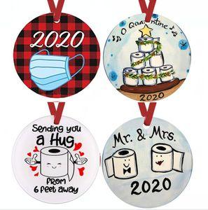 2020 Mask Ornament DIY Schneemann-Toilettenpapier-Anhänger Weihnachtsbaum Anhänger Weihnachtsdekoration Weihnachtsgeschenk Ornament FWA1583