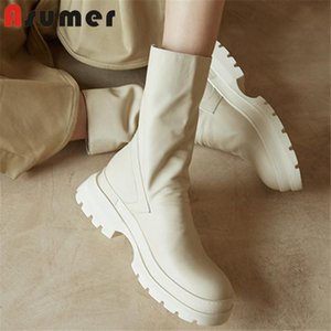 Asumer 2020 hot sale Thick bottom genuine leather shoes women ankle boots zip round toe comfortable Motorcycle Boots woman