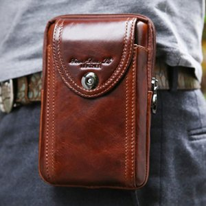 New Mens Genuine Leather Cowhide Vintage Belt Pouch Purse Fanny Pack Waist Bag For Cell Mobile Phone Case Cover Skin