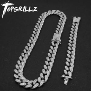 Topgrillz nova moda 20mm gelo fora pesado colar de hip hop com bracelete livre liga cadeia cubana conjunto para homem mulheres presente 201224