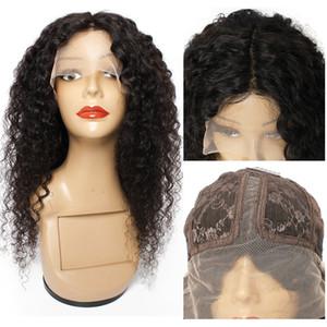Jerry Curly T Parte Renda dianteira Peruca Middle Part Brasileira Humano Cabelo Frontal Lace Peruca 10 -26 polegadas Possuida Black Color Wig para Mulheres