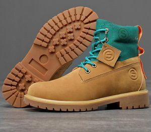 Moda Uomo Casual Martin Scarpe Stivali 2020 nuovo cuoio Mens High Top Giallo Grigio Stivaletti Sneakers esterna Work Boots 39-44