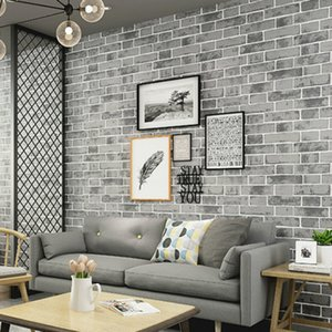 Grey Modern Vintage Textured Brick Wall Paper Wallpaper Roll Bedroom Living Room Home Decoration, Orange,White,Blue