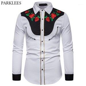 Erkek Casual Gömlek Çiçek Nakış Erkekler Vintage Batı Kovboy Gömlek Gül Çiçek Uzun Kollu Beyaz Tasarım Elbise for1