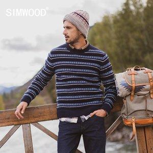 Simwood Sonbahar Kış Yeni Kazak Erkekler Çizgili Mix Yün Kontrast Renk Örme Kazak Kazakları 190412 201116