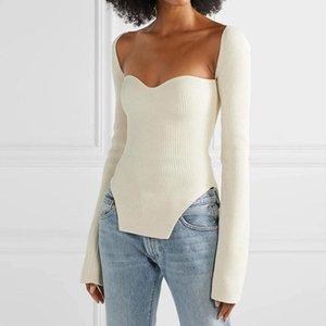 черная Белая стороны разделить ТРИКОТАЖНЫЕ женщины свитера площадь воротник с длинным рукавом Свитер женской осенние модами Новой одежда 2020