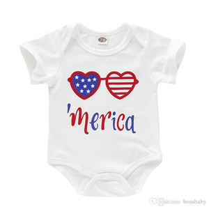 Newborn Baby Clothing 4th July Letter Star Print Romper Cotton Striped Jumpsuit
