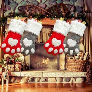 Da pata do cão de Natal Stocking Sock Grande Red And Gift Wrap Bag festivo da festa Grey Xmas Tree Decoração HH9-2330