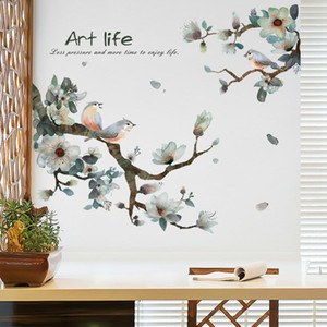 Vintage Ink Painting Bird on The Branch Flower Wall Stickers for Living Room DIY TV Background Wall Decorations Art Wallpaper 1007