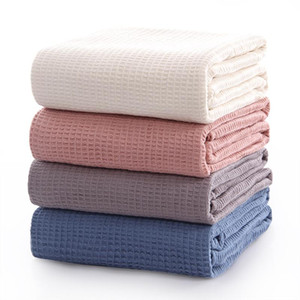 100% Cotton Waffle Plaid Quilt for Sofa Bed Towel Women Wrap Blanket Nap Breathable Blankets Throw Blanket Car Office 2 sizes
