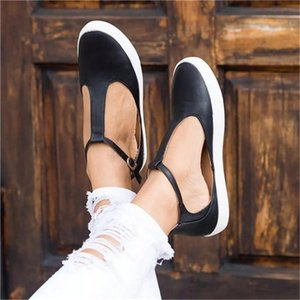 2020 New Women Shoes Vintage Solid Loafers Shoes Round Toe Platform Flat Buckle Strap Casual Female Single Flats