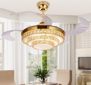 Modern Gizli Dilsiz Fan Lambası Kristal Tavan Fanı Telekontrol Fan Lambası Restoranda 42 inç Görünmez Bıçaklar Tavan Hayranları