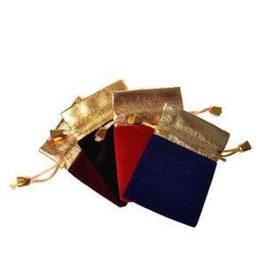 Borsa di stoccaggio dei gioielli Coulisse con coulisse Flanella Phnom Penh Borsa Nero Velvet Pettine Imballaggio Doppio coulisse Piccola borsa pacchetto flanella Sea GWC5137