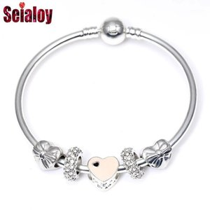 Seialoy мода розовый сердечный очарование браслеты браслеты с бисером банка с бисером в Европе бренды стиля для женщин ювелирные изделия Gifts1