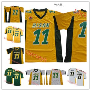 Hombres North Dakota State Bison Carson Wentz Jersey cosido # 11 Carson Wentz North Dakota State Football Jerseys S-3XL