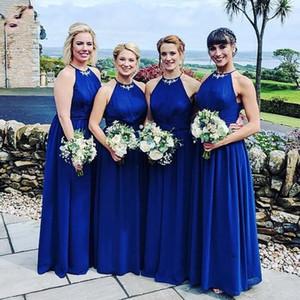 Royal Blue Chiffon Applique Bridesmaid Dresses Halter Top Open Back Pleated Beach Wedding Dress As Guest Bridal Formal Party Dress Cheap