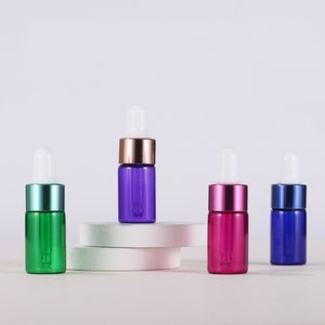 3ml Blue Green Purple Rose Gold 3ml Empty Glass Dropper Bottle Small Essential Oil Bottle With Colorful Cap For E Liquid Sample Vial