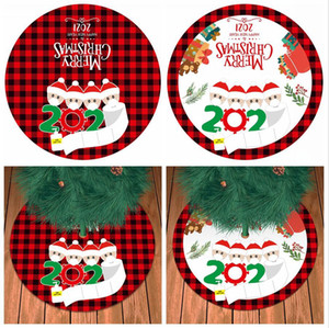 90CM Christmas Tree Skirt New Year Personalized Surviving Family Pattern Christmas Tree Bottom Decoration Pad Gifts DDA670