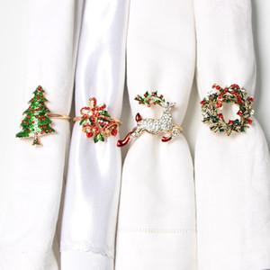 Fiocco Fiore DHL Albero di Natale Anelli di tovagliolo metallo Corona Bocca anello di nozze banchetto Hotel Table Forniture Regali Decorazione di Natale