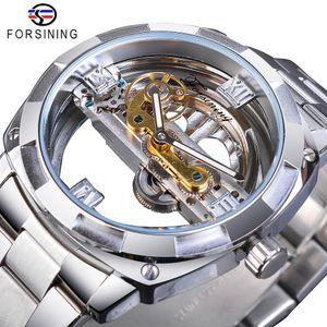 Forsining Homens Transparente Design Mecânica Relógio Automático Silver Golden Garden Skeleton Cintos de Aço Inoxidável Relógio Saátu Y200414