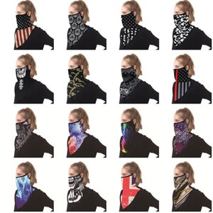 New Unisex Bandana With Ear Loops Scarf Women Men Neck Gaiter Face Balaclava Flag Leopard Print Windproof Summer Fashion ScarfsX1016
