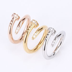2020 European and American popular 316 stainless steel vacuum coating nail ring diamond ring Valentine's day wedding ring