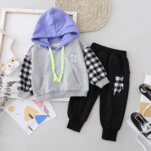 Boys Girls plaid Hoodies Pants 2pcs set Spring Kids Long Sleeve Suit Baby Casual Sportswear New Autumn Children Fashion Clothes