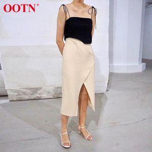 OOTN Casual Kaki Femmes Jupe taille haute asymétrique de Split Sexy Jupe Femme Midi Bureau élégant Mesdames automne Wrap