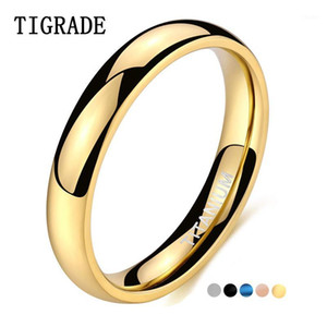 Tigrade 4mm Polished Gold Ring for Men Women Black Blue Silver Color Ring for Wedding Band Titanium Unisex Size151