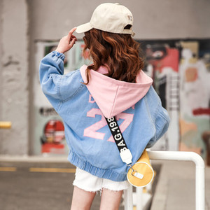 Girls Jackets Spring Baby Girl Coat Fashion Kids Number 27 Jeans Outerwear Teenage School Clothes Fall Toddler Denim Coats 201110