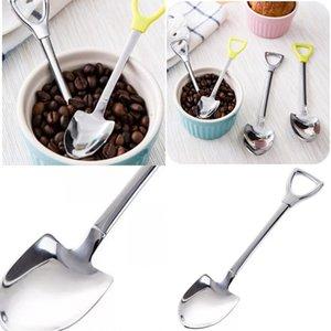 Kürek Şekli Kaşık Çatal Paslanmaz Çelik Kahve Çok Renkli Karıştırma Kaşık Eko Dostu Moda Sıcak Satış 2 3GD2 UU