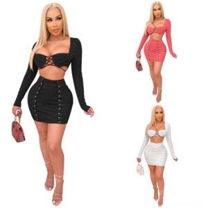 ML9 Sexy V Cuello Twosets Dos Diseñador Mujeres Sexys Slim Pie Soild Quinanera Vestido Ropa Color Pink
