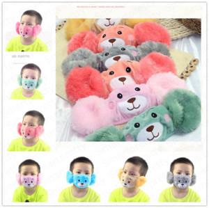 Hiver chaud en peluche Masque Cartoon adulte Masques Enfants Famille assortis Facemask Fleece Masque bouche moufles Coquilles oreille coupe-vent chaud E92902