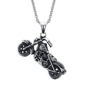 Moda Moda Acero inoxidable Motocicleta Patrón Colgante Collar BxG002 Personalidad Encanto Cuelga Cadena Accesorios Punk Rock Jewelry