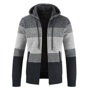 Yeni erkek kazak ceket 2021 ilkbahar sonbahar erkek kapüşonlu şerit ceket kalın fermuar yün kazak hırka süveter erkek