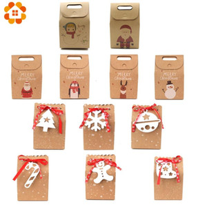 2PCS Multi Kraft Paper Xmas Party Cookies Candy Present Gift Bag Christmas Candy Box Decorations Christmas Party Accessories