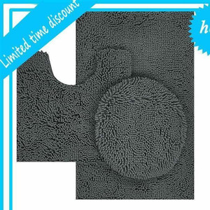microfiber chenille washable 3 piece bathroom mat set