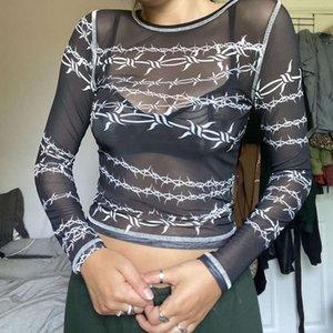 Sexy See-through Mesh Womens T-Shirts Fashion Print Long-sleeve Women Blouse Charm Ladies Street Hip Hop Bottoming Shirt