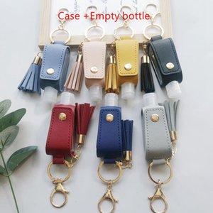 Hand Sanitizer Keychains PU Sanitizer Bottle Case Women Tassel Keychain Pendant Hand Holder Carrier Girl Accessories 50 lots HWF2534