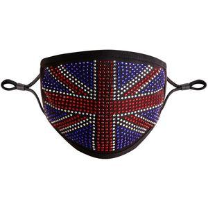 Transfrontalieri Maschere Bandiera britannica UK Hot perforazione di pietra cristallo di piena maschera di protezione antipolvere tappo del filtro Black Diamond cotone lavabile Mask