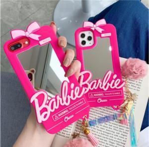 جيد الأزياء الكرتون باربي مرآة السيليكون الحالات الهاتف لفون 11 برو x xs ماكس xr 7 8 زائد se لطيف الوردي حالة الغطاء الخلفي للهدايا