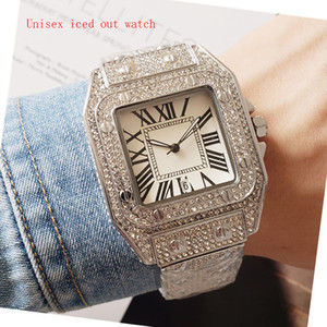 FASHOIN Style Hommes Montres Women Regarder Quartz Mouvement Tous Diamant Glafed Out Watch Haute Qualité Unisexe Robe Montres Lady Clock Montre de Luxe