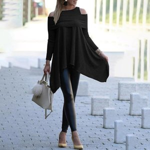 Autumn Long Sleeve Irregular T Shirt Elegant Off the Shoulder Slim Long Shirt Knitted Pullovers Women's Oversized Tops Clothes 201013