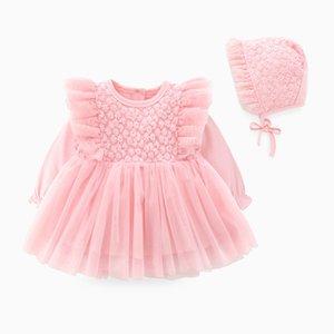 Lüks Beyaz Pembe Kırmızı fırfır Dantel Bebek Kız Elbise Şapka Uzun Kollu 0-3 3-6 6-12 12-18 Ay Düğün 1023 Tasarımları Güz